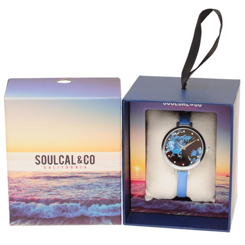 SoulCal Watch Ladies Blk Floral/Blue