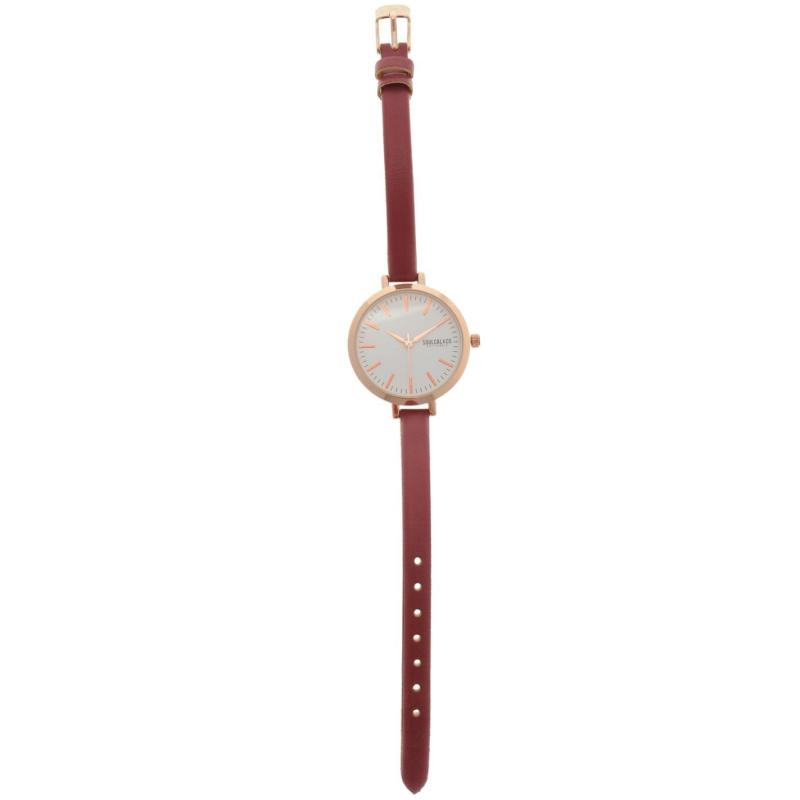 SoulCal Watch Ladies White/Burgundy