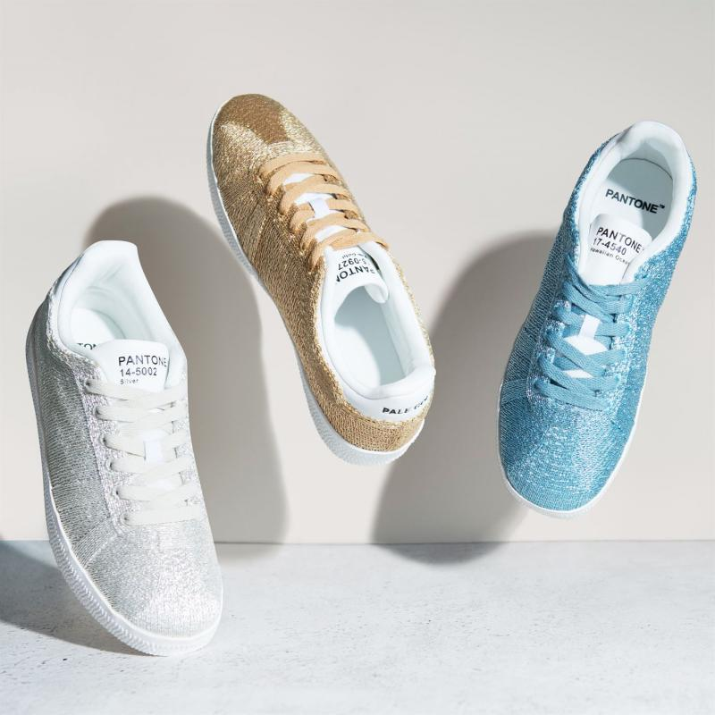 Pantone Fly Glitter Trainers Pale Gold