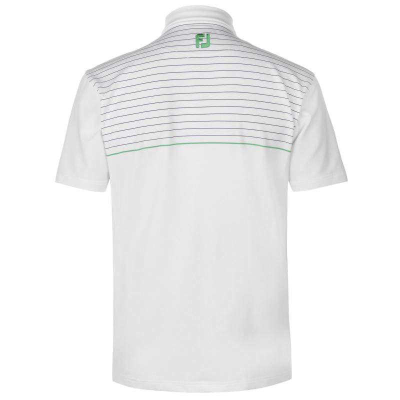 Footjoy Lisle Pinstripe Polo Shirt Mens White