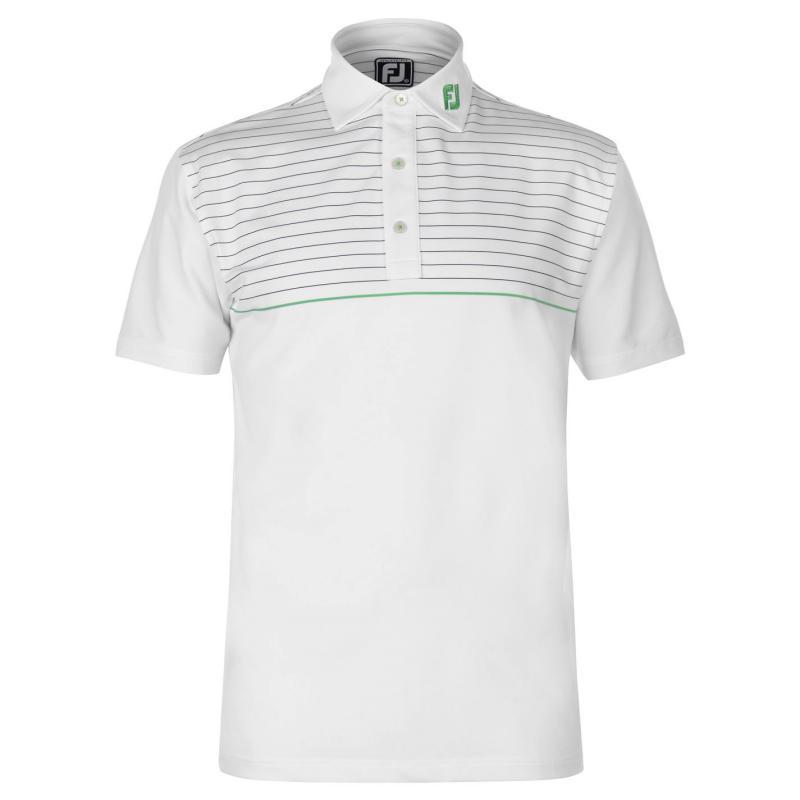Footjoy Lisle Pinstripe Polo Shirt Mens Heather Grey