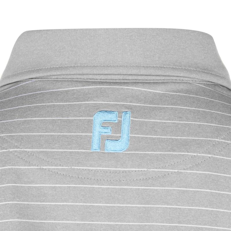 Footjoy Lisle Pinstripe Polo Shirt Mens Heather Grey