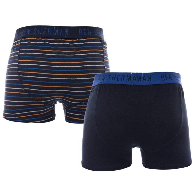 Spodní prádlo Ben Sherman Mens Santiago 2 Pack Boxer Shorts Navy
