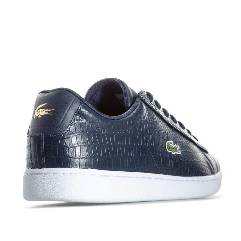 Lacoste Womens Carnaby Evo Shiny Texturised Trainers Navy