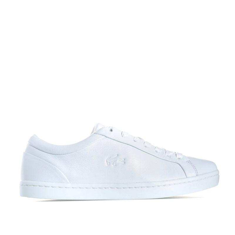 906581d7c5282c Lacoste Womens Straightset Leather Trainers White