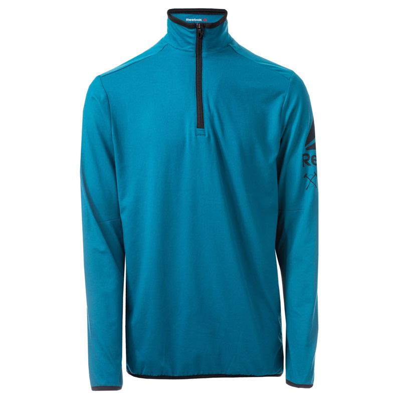 Reebok Mens Bioknit Quarter Zip Jacket Blue