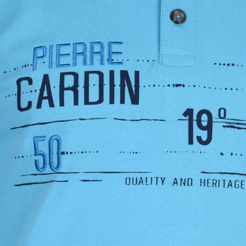 Pierre Cardin All Over Print Jersey Polo Shirt Mens Royal