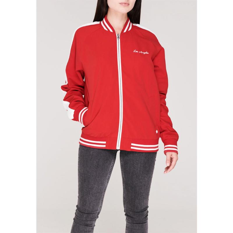 SoulCal Embroidered Bomber Jacket Ladies Red