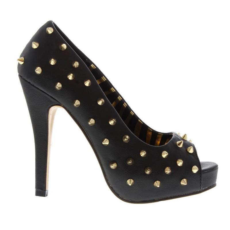 Abbey Dawn Ladies Peep Toe Heels Black