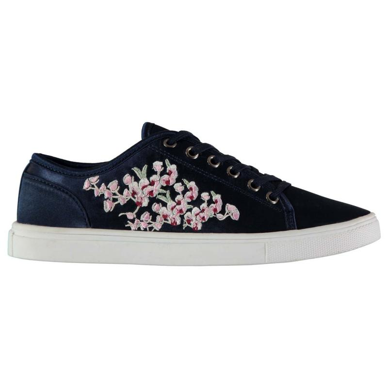 Fabric Embroidered Lace Ladies Trainers Navy