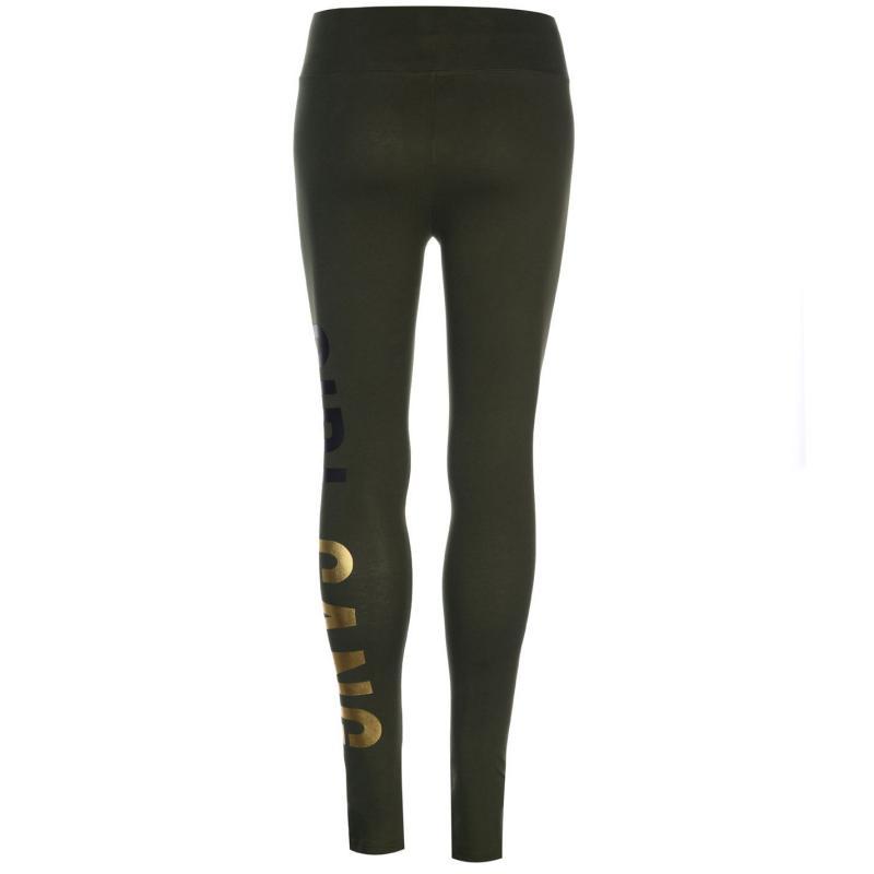 Golddigga Large Logo Leggings Ladies Khaki Foil