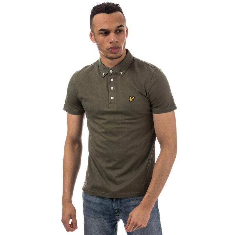 Lyle And Scott Mens Woven Collar Polo Shirt olive