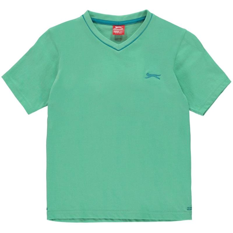 Tričko Slazenger V Neck T Shirt Junior Boys Mint Green