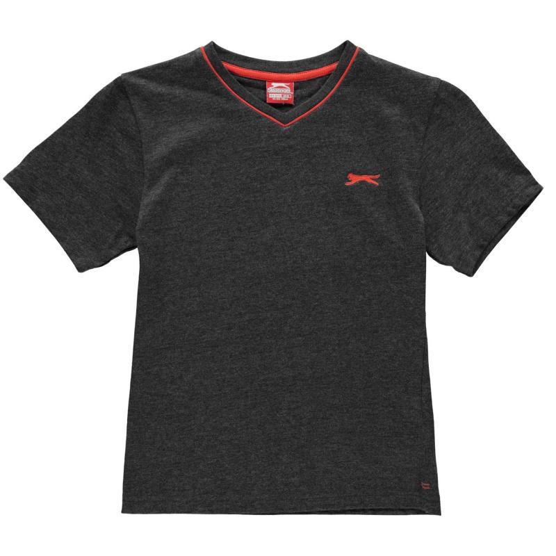 Tričko Slazenger V Neck T Shirt Junior Boys Charcoal Marl