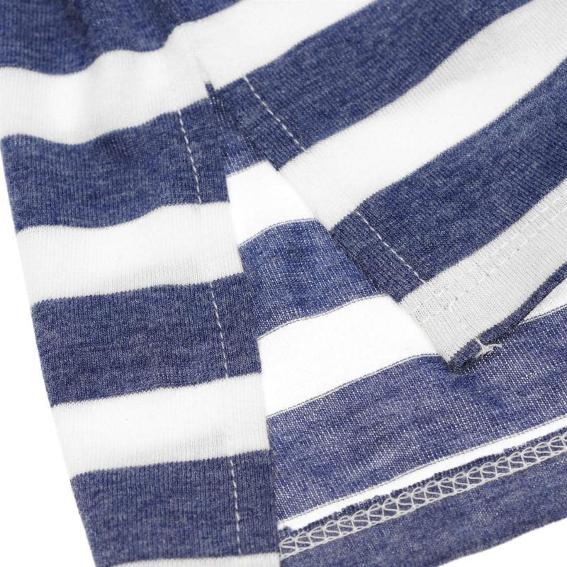 SoulCal V Neck Stripe T Shirt Ladies Denim M/ Wht