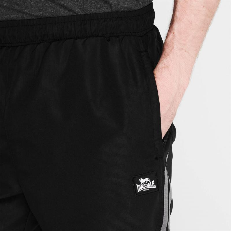 Lonsdale 2 Stripe Woven Shorts Mens Black/Charcoal