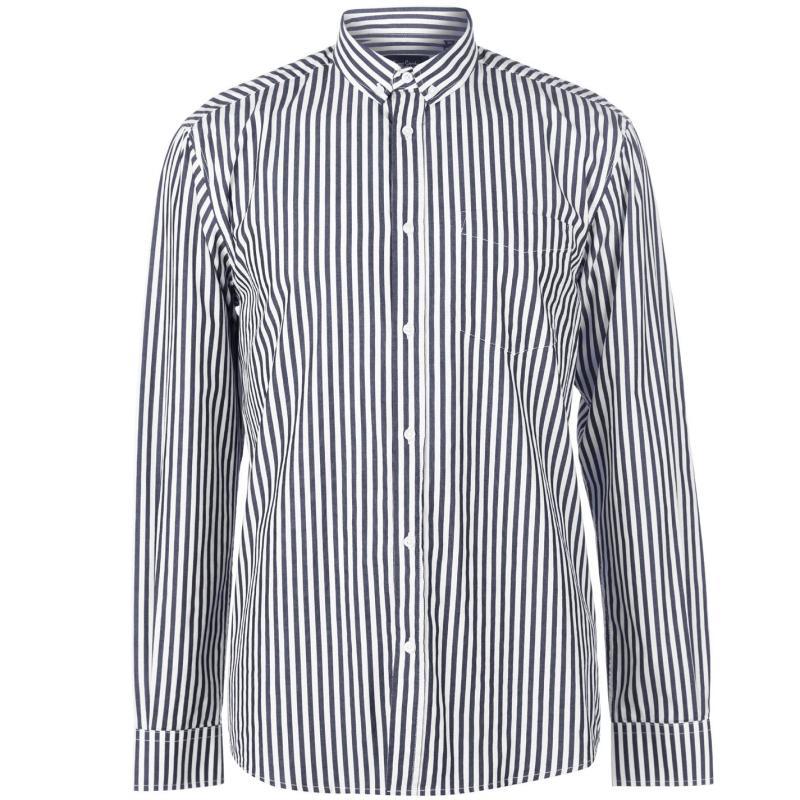 Pierre Cardin Bold Stripe Long Sleeve Shirt Mens Navy/White