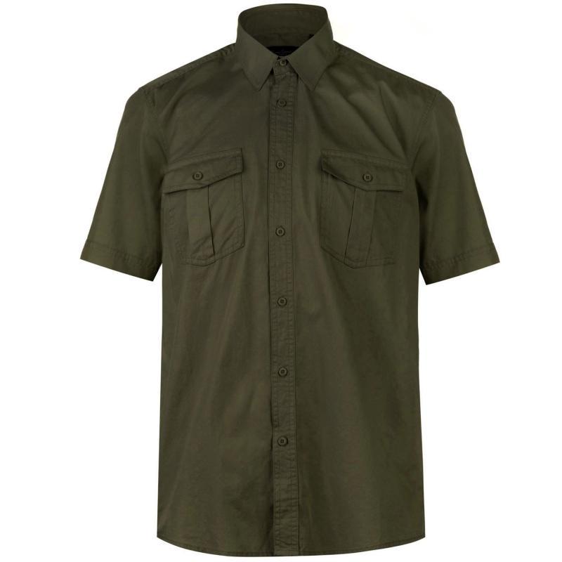 Pierre Cardin Military Short Sleeve Shirt Mens Khaki
