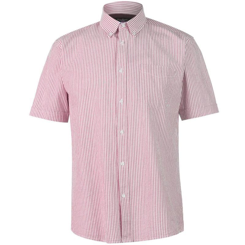 Pierre Cardin Seer Stripe Short Sleeve Shirt Mens Pink/White