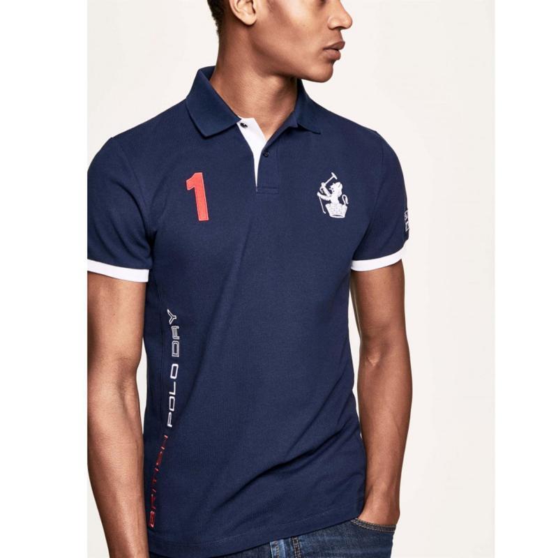 Hackett GB Polo Shirt Mens Navy/white