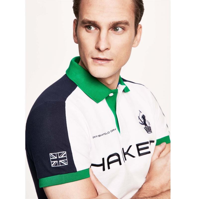 Hackett Logo Pique Polo Shirt Mens White/Green