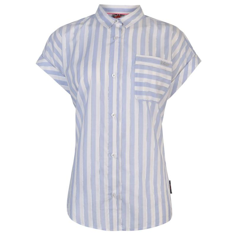 Košile Lee Cooper Short Sleeve Casual Stripe Shirt Ladies White/Blue