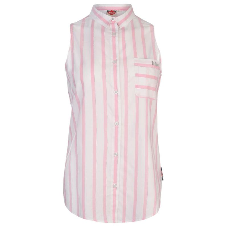 Košile Lee Cooper Sleeveless Shirt Ladies White/Pink