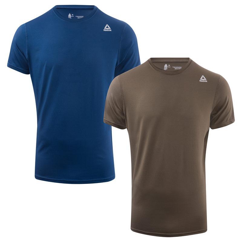 Reebok Mens Simon 2 Pack Sports T-Shirts Blue green