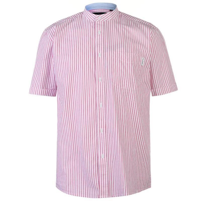 Pierre Cardin Bengal Stripe Short Sleeve Shirt Mens White/Pink