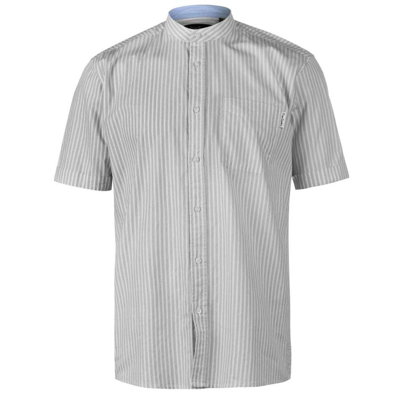 Pierre Cardin Bengal Stripe Short Sleeve Shirt Mens Black/White