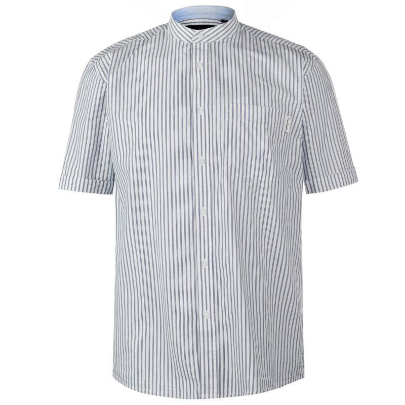 Pierre Cardin Bengal Stripe Short Sleeve Shirt Mens White/Navy