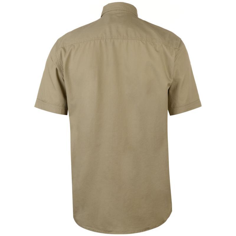 Pierre Cardin Military Short Sleeve Shirt Mens Stone