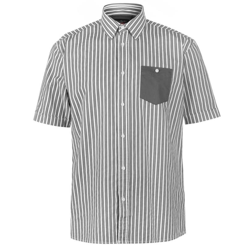 Pierre Cardin Pocket Detail Striped Short Sleeve Shirt Mens Grey/White