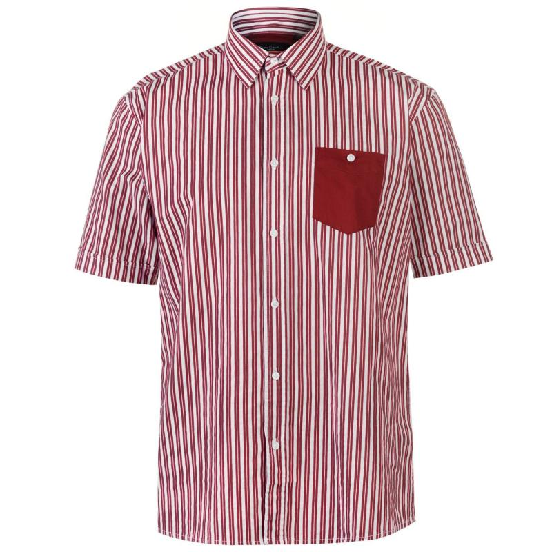 Pierre Cardin Pocket Detail Striped Short Sleeve Shirt Mens Burg/White