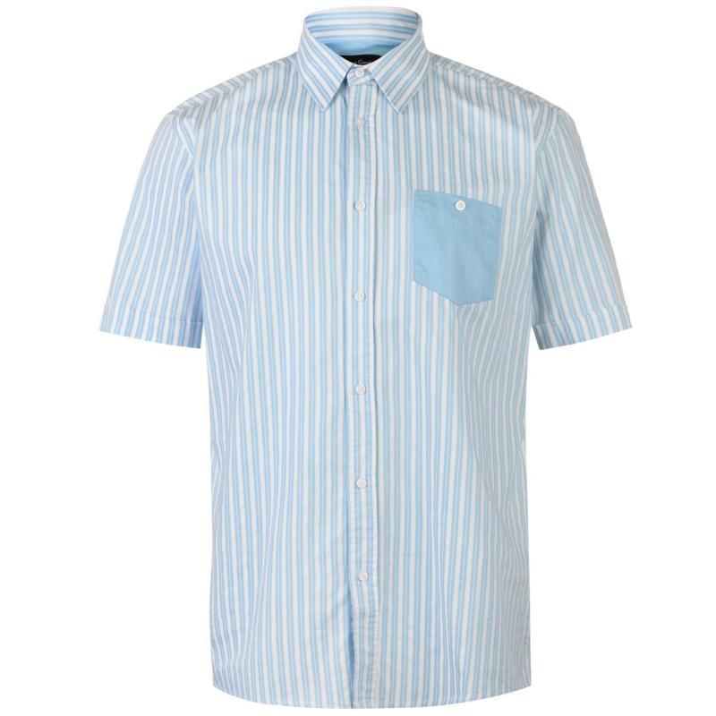Pierre Cardin Pocket Detail Striped Short Sleeve Shirt Mens Sky/White