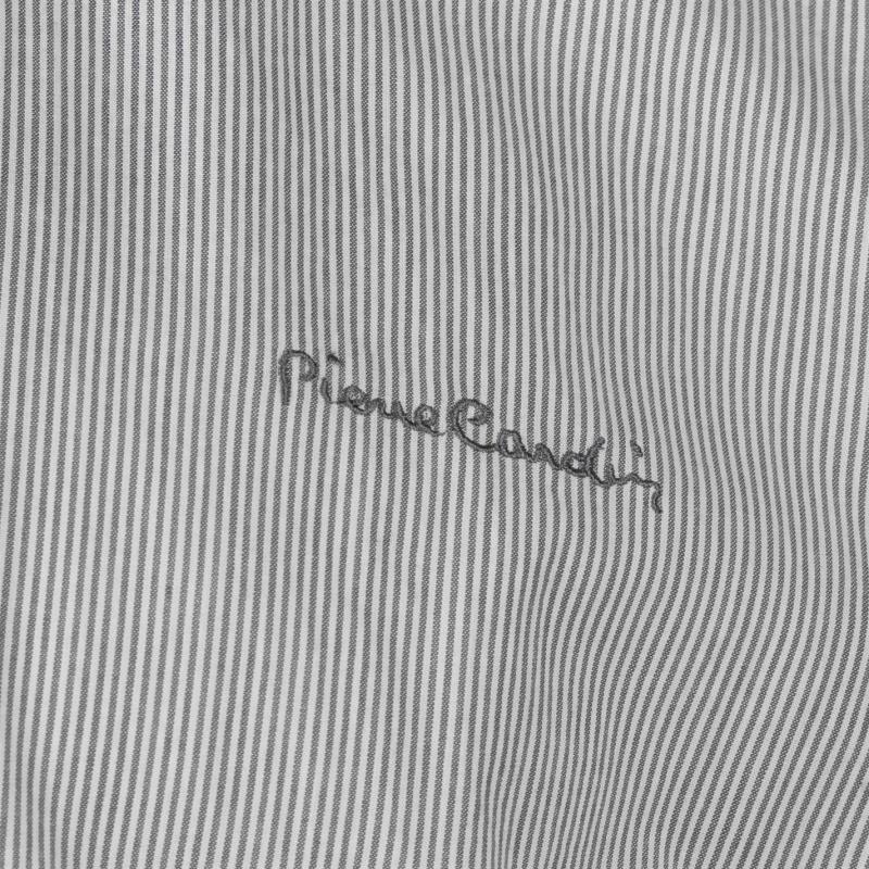 Pierre Cardin Collarless Long Sleeve Stripe Shirt Mens Black/White
