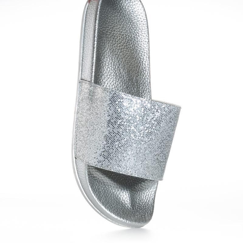 Boty 7x Womens Metallic Slides Silver