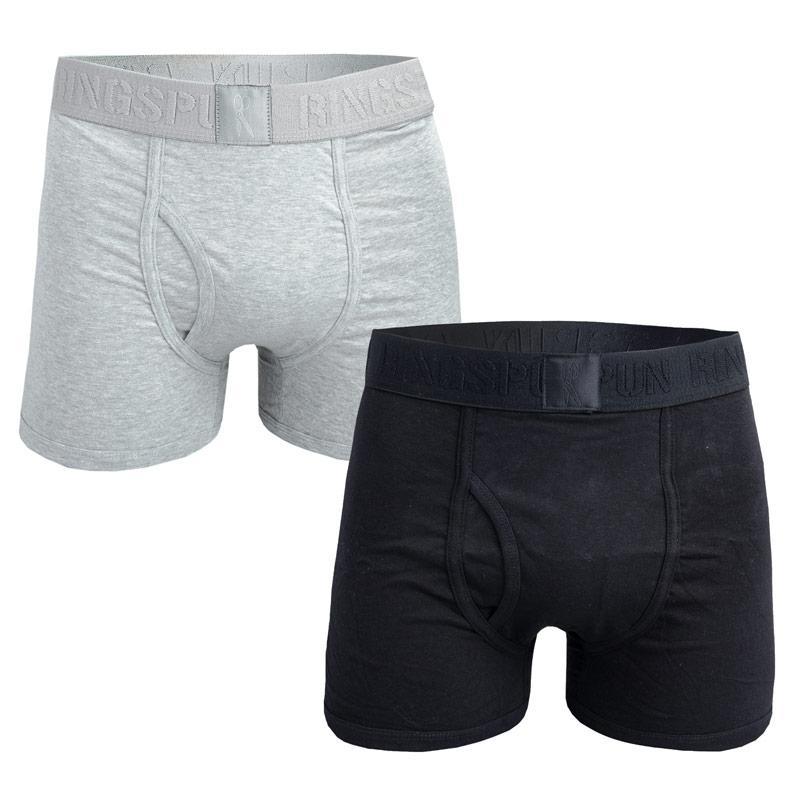 Spodní prádlo Ringspun Mens 2 Pack Boxer Shorts Black Grey