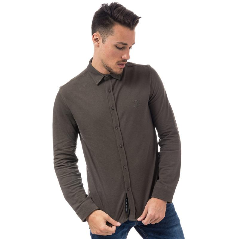 Dead Legacy Mens Slim Fit Pique Shirt Grey Velikost - M