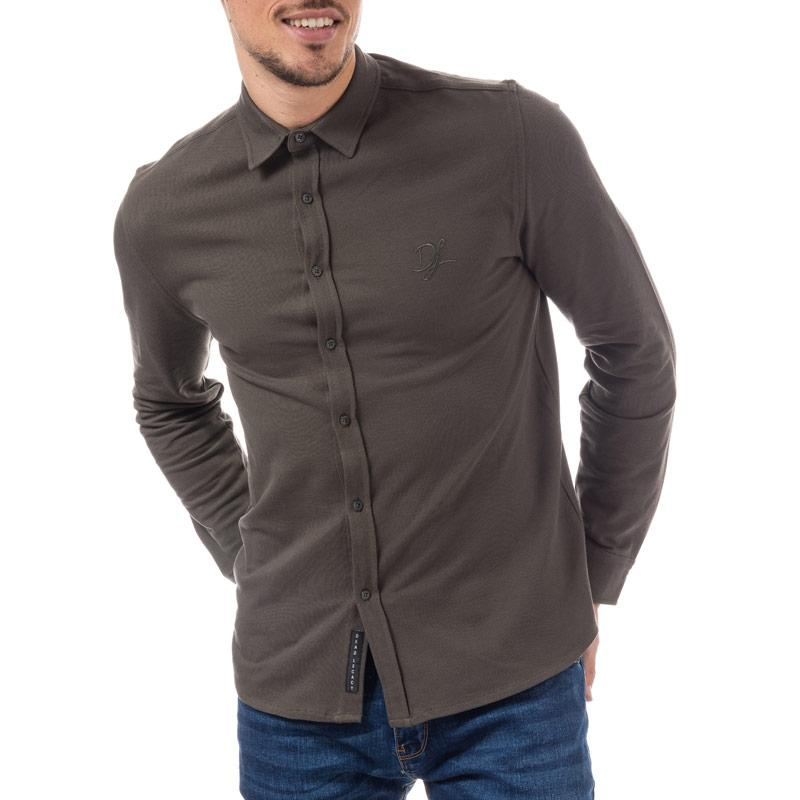 Dead Legacy Mens Slim Fit Pique Shirt Grey Velikost - S