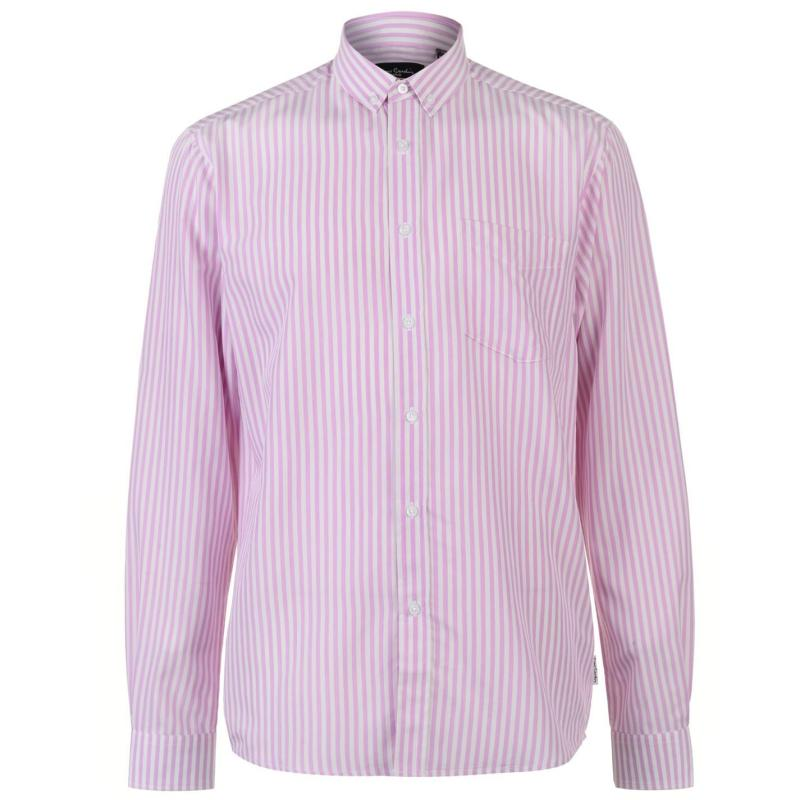 Pierre Cardin Bold Stripe Long Sleeve Shirt Mens Pink/White