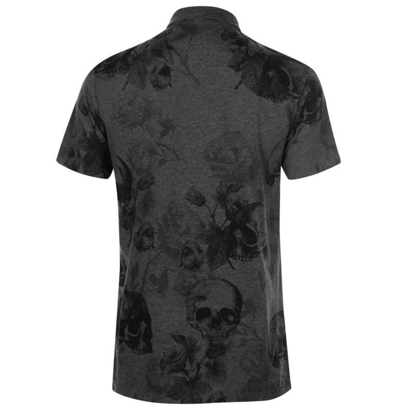 Firetrap Printed Polo Shirt Mens Char Skull AOP