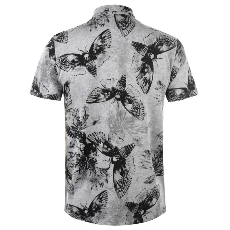 Firetrap Printed Polo Shirt Mens Grey Moth AOP