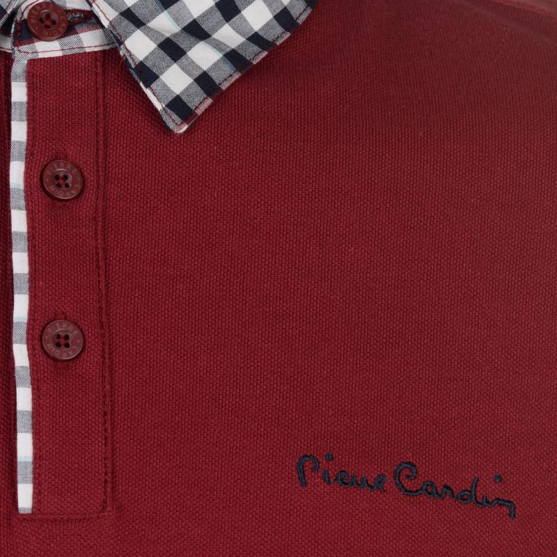 Pierre Cardin Check Collar Polo Shirt Mens Burgundy