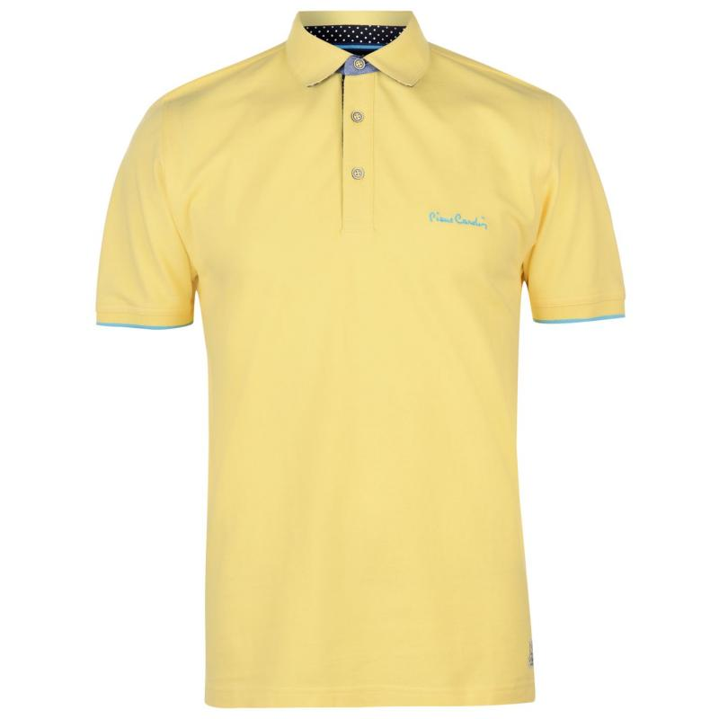 Pierre Cardin Detail Polo Shirt Mens Lemon