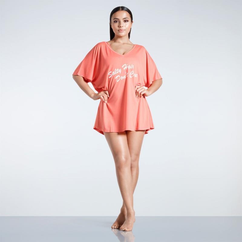 Plavky Golddigga Slogan T Shirt Ladies Coral Salty Hr
