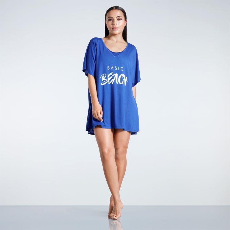 Plavky Golddigga Slogan T Shirt Ladies Blue Basic Beac