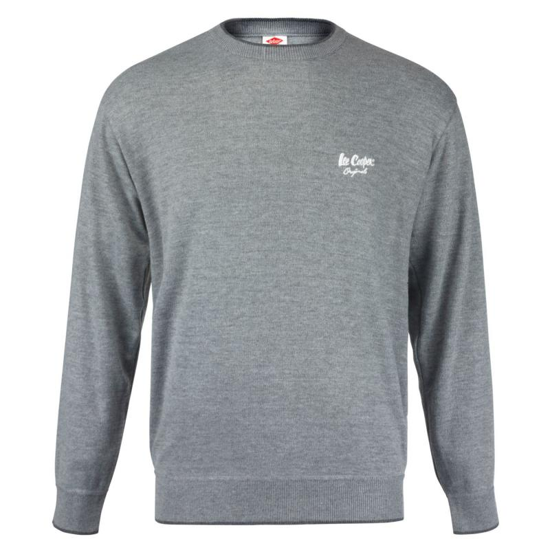 Mikina Lee Cooper Knit Sweater Mens Grey
