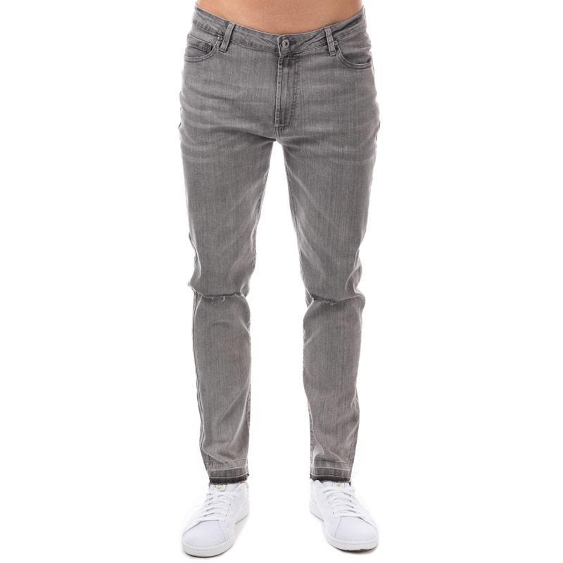 D-Struct Mens D Lexington Ripped Slim Fit Jeans Grey