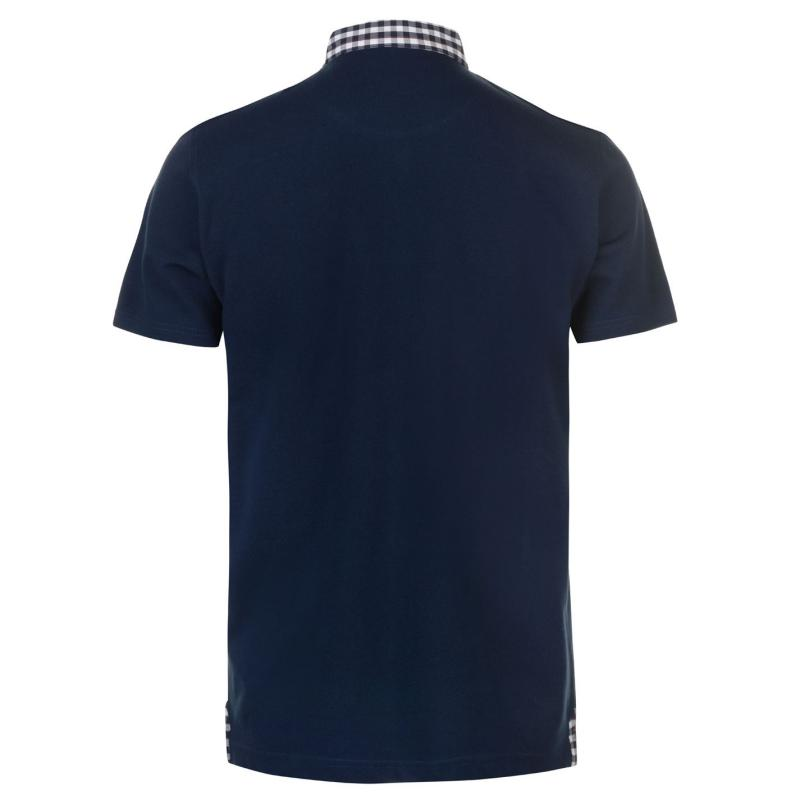 Pierre Cardin Check Collar Polo Shirt Mens Teal